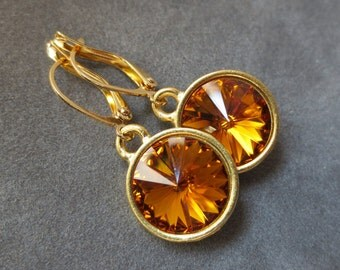 Topaz Jewelry, Gold November Birthstone Earrings, Dangles, Topaz Drop Earrings, Crystal Birthstone Jewelry
