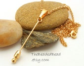 Changeable Bead Pendant - gold with bail no chain