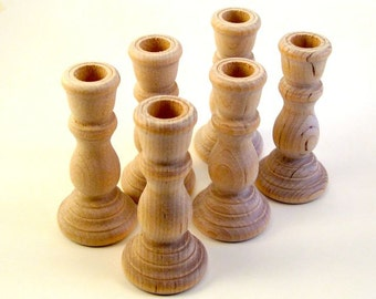 6 Wooden Candle Holder Candlestick Unfinished 6 Candle Holders Candlesticks