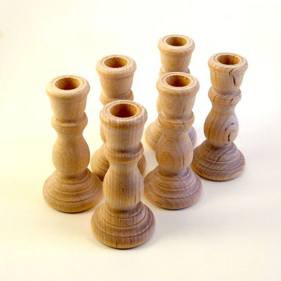 12 wooden candle holder candlestick unfinished by iusedtobeatree - Unfinished wood candlestick holders ...