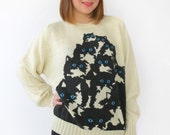 White Wool Crazy Kitty Sweater. One of a kind vintage. Xl