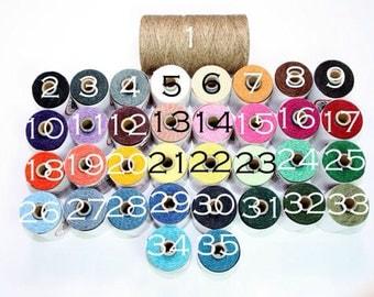 Waxed Irish Linen Thread 4 Ply 50 yards - any 5 colors