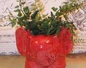Elephant Planter /  Elephant Vase - Cranberry Red