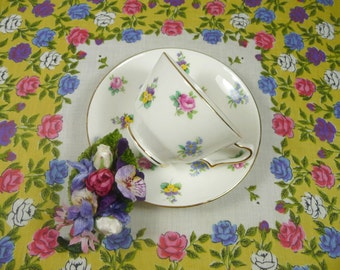 SALE Gift Set Tea Cup Hankie Corsage Vintage Staffordshire English Bone China Pink Yellow Blue Floral Velvet Millinery Bridesmaid