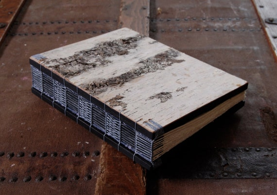 white birch bark journal or guest book handmade - wood book -  rustic  woodland winter wedding gift - grey gray blue  - ready to ship
