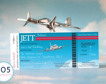 Boarding Pass Invitation - PRINTED or PRINTABLE Airplane Invitation by 505 Design, Inc