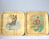 1950s Vintage Mid Century Bamboo Trays, Set of 2