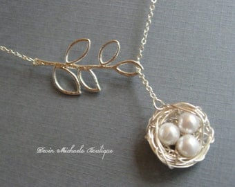 Mothers Day Necklace, Silver Bird Nest Necklace, Silver Lariat Branch Necklace, Mothers Gift, Baby Birds Necklace
