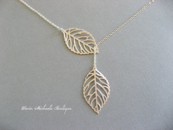 Silver leaf necklace lariat necklace leaf pendant christmas like this item aloadofball Image collections