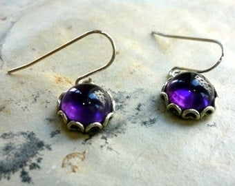 Sterling Silver Amethyst Earrings, Amethyst Cabochon Earrings, Purple Amethyst Gemstone Earrings, Deep Purple Earrings, Filigree Silver