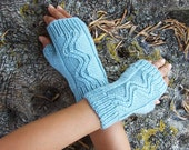 Light Blue Turquoise Swirl Fingerless Mittens in Merino Wool