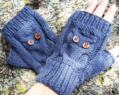 Blue Owl Fingerless Mittens in Wool Alpaca Available in 20 Shades