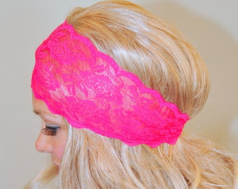 Lace Headband Pink Bright Neon Adult Headband Hot Pink Stretch Wide Headwrap Vintage Wide Headband Girly Gift Birthday Fashion