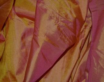 Silk Taffeta in  Yellow with Magenta- fat quarter-TF 80