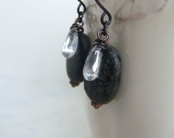 Skipping Stones - Czech Glass - Rustic - Nature Inspired - Long Dangle