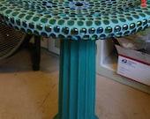 Mosaic Concrete Birdbath in teal, blue, purple and seafoam greens