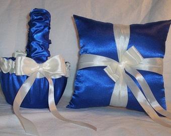 Blue Horizon Satin With Ivory Cream Ribbon Trim Flower Girl Basket And Ring Bearer Pillow Set 2