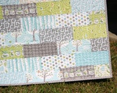 Baby Boy Quilt, Backyard Tree Swings Bugs, Fun Critters, Blue Grey Aqua Green, LAST ONE
