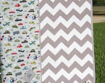 SALE LAST ONE Chevron Boy Quilt, Baby Grey Gray Blanket, Transportation Cars Trucks, Vroom Vehicles, Modern Trendy, Airplanes