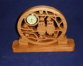 Owls In Tree Desk Clock Handmade From Cherry Wood With Quartz 1-7/16 Clock Insert