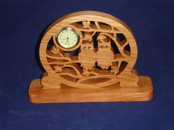 Owls In Tree Desk Clock Handmade From Cherry Wood With Quartz 1-7/16 Clock Insert