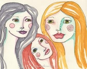 Three Sisters. Three Goddesses, Three Muses, Red head, Blonde, Silver Beauty, Three Woman, Greeting Card or Photographic Art Print