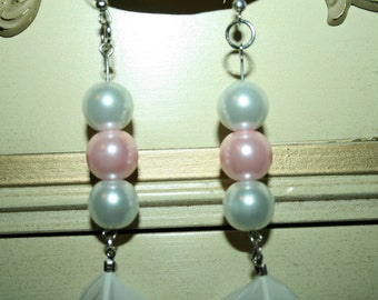 Pink and White Pearl Feather Earrings