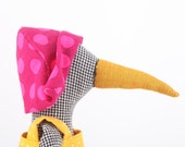 stuffed bird doll -Made of black and white plaid fabric, Wears yellow dress and Fuchsia Pink polka dot hat - timo handmade eco doll