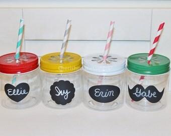 plastic mason jars with colored daisy lids 10 kids plastic jar cups mason jar - Mason Jar Drinking Glasses