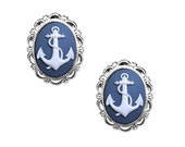 Anchor Cameo Post Earrings