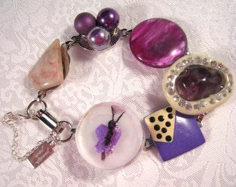 Vintage Earring Bracelet, Bridesmaid Gift, Upcycled, Charm, Rhinestones, Violet, Purple, Plum, Whimsy, Mod, Boho, Under 40, OOAK - Bugsy