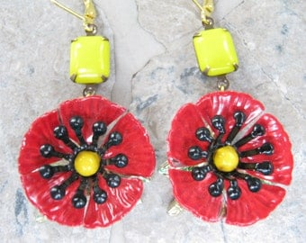 Reclaimed Vintage Earrings, Red, Yellow, Vintage Enamel Flowers, Opaque Glass, Leverback, Pierced, Gift Set, Glass Teardrops, OOAK - Poppies