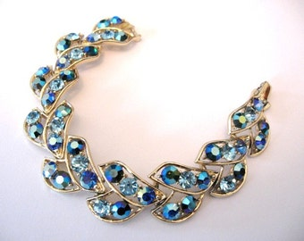Vintage Rhinestone Bracelet - Ab Blue Rhinestone Bracelet