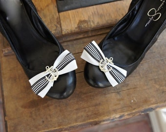 Olivia Paige - Navy Sailor Anchor Pin Up style Shoe Clips