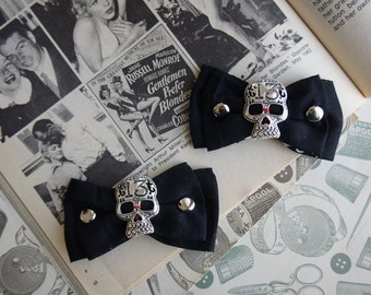 Olivia Paige - Black  Bow Sugar skull shoe Clips with studs