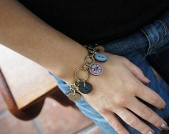 Olivia Paige -Vintage buttons Rockabilly punk rock bracelet