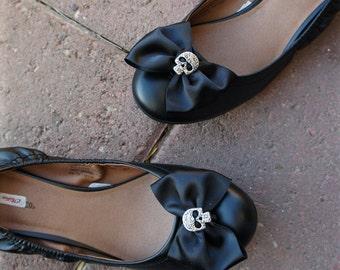 Olivia Paige - Black  satin Bows Sugar skull shoe Clips