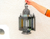 RESERVED FOR ANGIE Vintage Moroccan Stained Glass Hanging Lantern