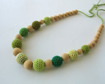 CLEARANCE SALE - Green Cotton Wooden Nursing Necklace - Crochet Necklace for mom and child - Teething Necklace