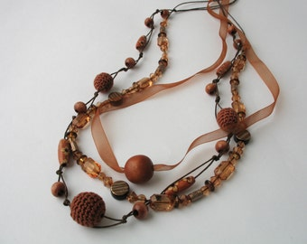 CLEARANCE SALE - Camel Brown beaded necklace