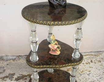 Ornate 3 tier table with stacked glass legs,Faux Marble display table, 3 shelf table