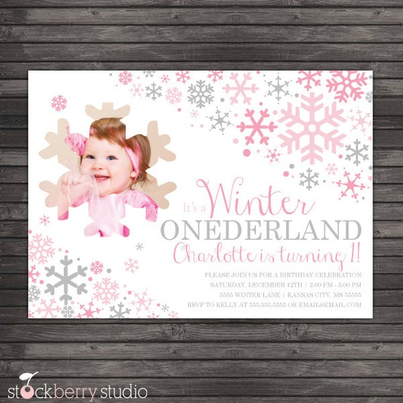 product search winter onederland first birthday party  catch my, Birthday invitations