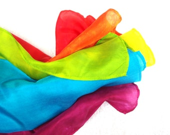 "3 Play Silk Scarves 8"" x 54"" Rainbow Gradient Scarves, Waldorf Inspired Dress up"