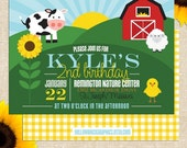 Farm Birthday Party Invitation - Printed Invitations or Printable Files