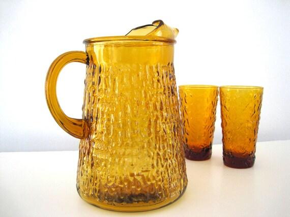 Vintage Glass Pitcher Glasses Amber Textured Tree Bark 1960 1970
