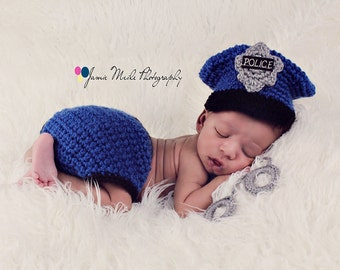 Policeman Set, Handcuffs, Sheriff, Deputy, LAPD, Law Enforcement, Halloween Costume, Police Badge, Newborn Photo Prop, Military Uniform