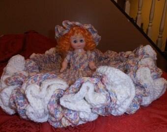 crochet spring blossum bed doll