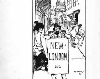 "London Street Scene  Vintage Print ""New London""  by A. S. Hartrick"