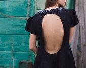 Little black dress with a deep cut back, mini dress, autumn fall fashion, clothing, black dress halloween witch