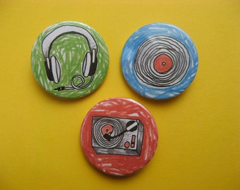 Vinyl Lovers magnet or button Set of 3 38mm